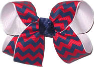 Medium Red Navy White School Bow