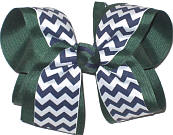 Evergreen Navy White Large Double Layer Bow