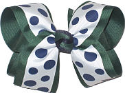 With with Navy Dots over Evergreen Large Double Layer Bow