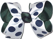 Medium Evergreen Navy White School Bow
