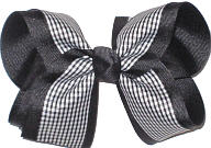 Black and White over Black Large Double Layer Bow