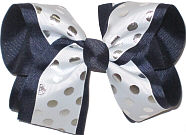 With with Silver Dots over Navy Large Double Layer Bow