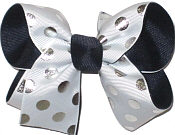 Medium Navy Silver White School Bow