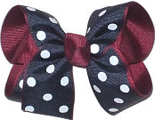 Medium Burgundy Navy White School Bow