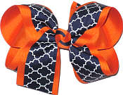 Orange Navy and White Large Double Layer Bow