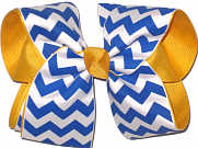Century Blue and White over Yellow Gold Large Double Layer Bow