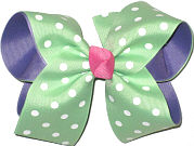 Green with White Dots over Delphinium Large Double Layer Bow
