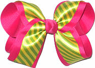 Yellow and Green satin Stripe over Shocking Pink Large Double Layer Bow