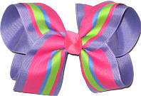 Hot Pink Turquosie and Green over Tropic Lilac Large Double Layer Bow
