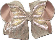 Beige with Gold Lace Large Double Layer Bow
