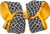Black White and Yellow Gold MEGA Extra Large Double Layer Bow