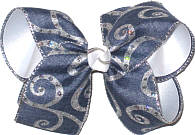 Silver and denim over White Large Double Layer Bow
