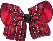 Red Black White over Red Large Double Layer Bow