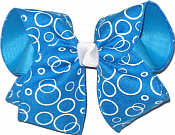 Capri Blue Canvas with White Bubbles over Capri Blue MEGA Extra Large Double Layer Bow