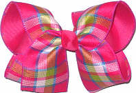 Pink Green Blue over Shocking Pink Large Double Layer Bow