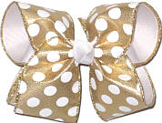 Gold with White Dots over White Large Double Layer Bow