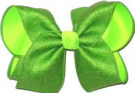 Apple Green Canvas Ribbon over Neon Lime Large Double Layer Bow
