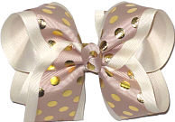 Oatmeal with Metallic Gold Dots over Antique White Large Double Layer Bow