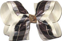 Black Gray Gold over Light Ivory Large Double Layer Bow