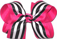 Black and White over Shocking Pink Large Double Layer Bow
