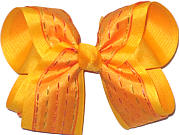 Orangey Yellow Gold over Yellow Gold Large Double Layer Bow