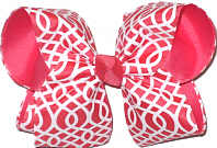 Watermelon and White Pattern over Watermelon Large Double Layer Bow