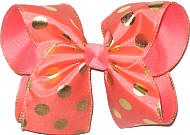 Coral with Gold Dots MEGA Extra Large Double Layer Bow