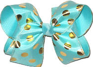 Aqua with Gold Dots over Aqua Large Double Layer Bow