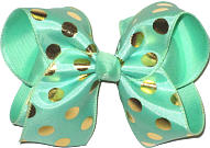 Mint with Gold Dots MEGA Extra Large Double Layer Bow