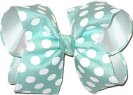 Aqua with White Dots over White Large Double Layer Bow