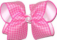 Hot Pink and White over White Large Double Layer Bow