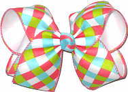 Coral Green Blue White over White Large Double Layer Bow