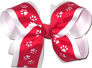 Red over White Large Double Layer Bow