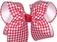 Red and White Check over White Grosgrain MEGA Extra Large Double Layer Bow