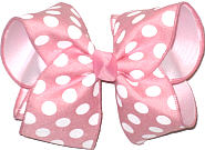Light Pink with White Dots over White Grosgrain MEGA Extra Large Double Layer Bow