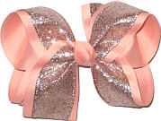 Rose Gold Glitter over Light Peach Grosgrain Large Double Layer Bow