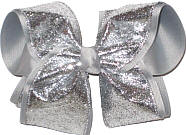 Slivr Glitter over Millenium Gray Grosgrain MEGA Extra Large Double Layer Bow