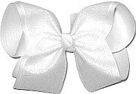 Iridescent White Glitter over White Grosgrain MEGA Extra Large Double Layer Bow