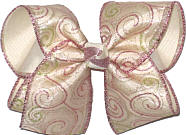 Lavender and Green Glitter Swirls over Light Ivory Grosgrain MEGA Extra Large Double Layer Bow