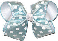 Light Blue with White Dots over White Grosgrain MEGA Extra Large Double Layer Bow