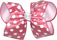 Colonial Rose with White Dots over White Large Double Layer Bow