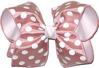 Mauve with White Dots over White Large Double Layer Bow