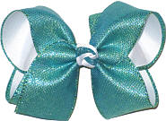 Turquoise Shimmering Mesh over White Grosgrain Large Double Layer Bow