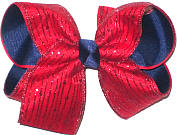 Red Glitter Stripes over Navy Grosgrain Large Double Layer Bow