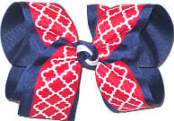 Red and White Quatrafoil over Navy Grosgrain Large Double Layer Bow