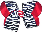 Navy and White Zebra Stripes over Red Grosgrain Large Double Layer Bow