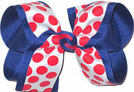 White with Red Coin Dots over Century Blue Grosgrain Large Double Layer Bow