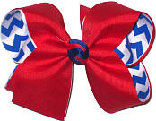 Red Grosgrain over Century Blue and White Chevron Stripes Large Double Layer Bow