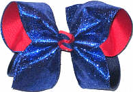 Century BLue Glitter over Red Grosgrain Large Double Layer Bow