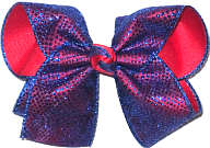 Century Blue Chiffon Glitter Dots over Red Grosgrain Large Double Layer Bow